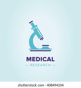 Vector logo microscope. Research sign, creative design illustration