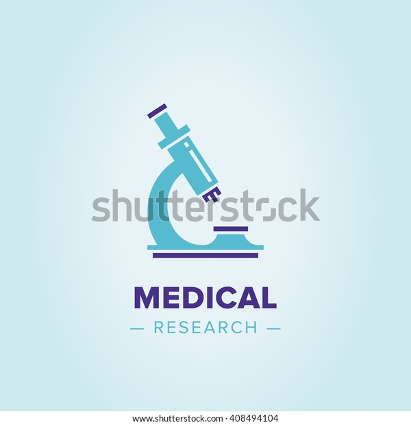 Vector logo microscope. Research sign, creative design illustration