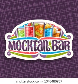 Vector logo for Mocktail Bar, white sign board with 5 non alcoholic drinks, original lettering for words mocktail bar, confetti and flourishes, soft cocktails with fresh berries for fun beach party.