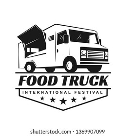 Vector logo in monochrome style. Black and white illustration on the theme of private business. Family business. Food truck. Fast food, a car with food. Vegetable groceries. Image for logo, emblem, ba