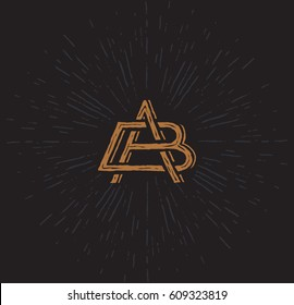 Vector logo - monogram in a worn vintage style. The interwoven letters A and B