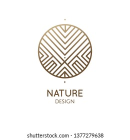 Vector logo of mountains, nature geometric elements. Round sacred symbol. Outline icon of abstract landscape - business emblem for design cards, packaging, zen, ecology, health concepts, yoga Center.