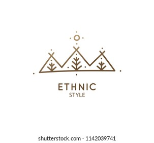 Vector logo mountains and trees. Simple minimal emblem. Linear icon of landscape with trees, sun, three hills - business emblems, badge for travel, farming and ecology concepts, health and yoga Center