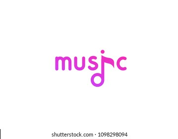 Vector logo of Music. Vector illustration in EPS 10. Violet label in flat style for music project, studio, web site, radio.