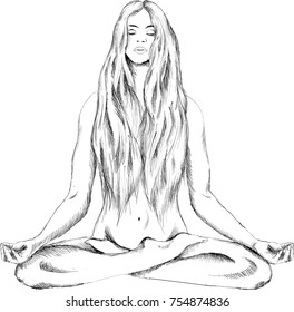 The vector logo a naked girl yoga