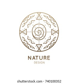 Vector logo of nature abstract elements. Round sacred symbol. Outline icon of abstract landscape: lake, clouds - business emblem for design cards, packaging, zen, ecology, health concepts, yoga Center