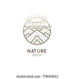 Vector logo of nature abstract elements. Round sacred symbol. Outline icon of landscape with sun, mountains - business emblems, badge for a travel, holistic, zen, ecology concepts, health, yoga Center