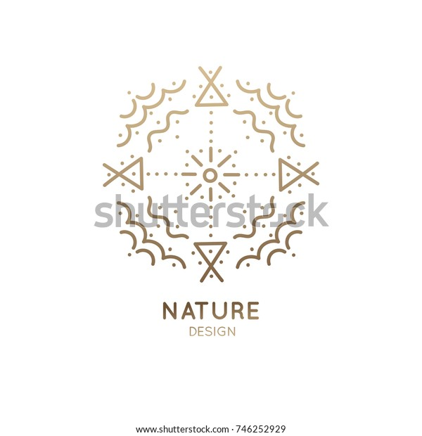 Vector logo of nature abstract elements. Round sacred symbol. Outline icon of abstract landscape: sun, clouds - business emblem for design cards, packaging, zen, ecology, health concepts, yoga Center