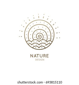Vector logo of nature elements in a circle. Abstract linear icon of landscape with waves and sun - round business emblems, badge for a travel, tourism and ecology concepts, health and yoga Center.