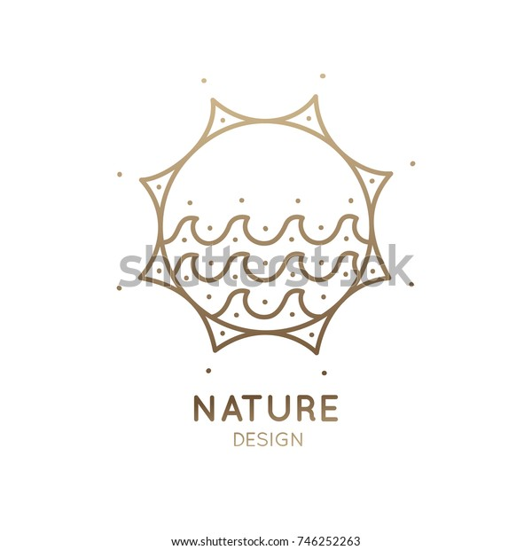 Vector logo of nature elements in a circle. Abstract linear icon of landscape with waves, sun and sea - round business emblems, badge for a travel, tourism and ecology concepts, health and yoga Center