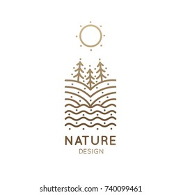 Vector logo of nature elements. Linear vertical icon of landscape with trees, river, fields, sun - business emblems, badge for a travel, farming and ecology concepts, health and yoga Center.