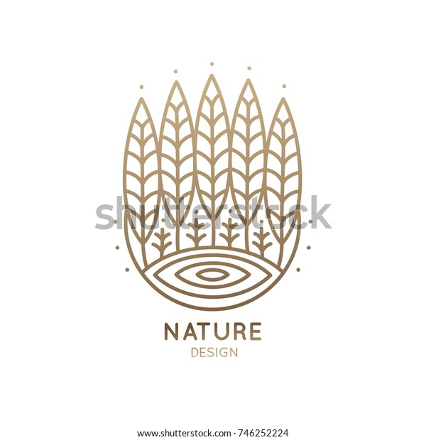 Vector logo of nature elements. Linear icon landscape with trees, lake, sun - business emblems, badge for a travel, farming and ecology concepts, health and yoga Center.