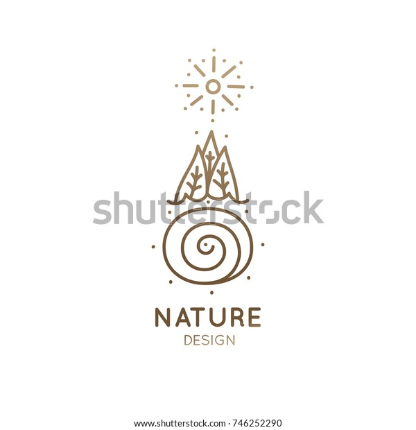 Vector logo of nature elements in linear style. Outline icon of landscape with trees, river, sun - business emblems, badge for a travel, holistic and ecology concepts, health, spa and yoga Center.