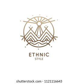 Vector logo of nature elements, mountains, sun, river. Sacred symbol. Outline icon of abstract landscape - business emblem for design cards, packaging, zen, ecology, health concepts, yoga Center.