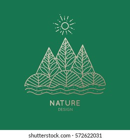Vector logo of nature elements on green background. Linear icon of landscape with trees, plants - business emblems, badge for a travel, farming and ecology concepts, health and yoga Center.