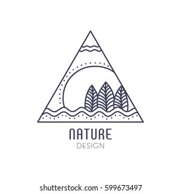 Vector logo of nature elements on white background. Linear icon of landscape with trees, river, sun - business emblems, badge for a travel, farming and ecology concepts, health and yoga Center.