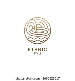 Vector logo of nature elements. Round sacred symbol. Outline icon of abstract landscape - business emblem, zen, ecology, health and recycle concepts, yoga Center. Environment logo design