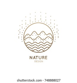 Vector logo of nature. Linear round icon of landscape with mountains, river, sun. Minimal logotype for business emblems, badge for a travel, tourism and ecology concepts, health and yoga Center.