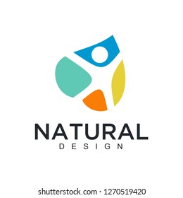 Vector logo of nature in linear style. Outline icon of simple landscape with trees, sun, fields - business emblems, badge for a travel, farming and ecology concepts, health, spa and yoga Center. - Vec