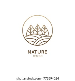 Vector logo of nature in linear style. Outline icon of simple landscape with trees, sun, fields - business emblems, badge for a travel, farming and ecology concepts, health, spa and yoga Center.