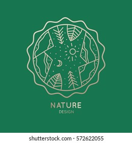 Vector logo of nature on green background. Linear icon of landscape in circle with trees, plants, mountains. Business emblems, badge for a travel, and ecology concepts, health and yoga Center.