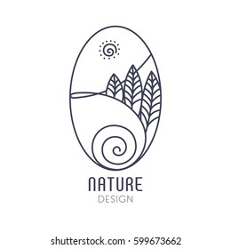 Vector logo of nature on white background. Linear oval icon of landscape with trees, river and sun. Business emblem, badge for a travel, farming and ecology concepts, health and yoga Center.