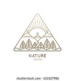 Vector logo of nature on white background. Linear icon of landscape - mountains, trees, sun. Business emblem, badge for a travel, alternative medicine and ecology concept, spa, health and yoga Center.