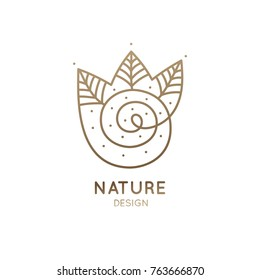 Vector logo of nature. Simple logotype of winter garden, round lake. Outline icon landscape with trees, river, snow - business emblems, badge for travel, holistic, ecology health, spa, yoga Center