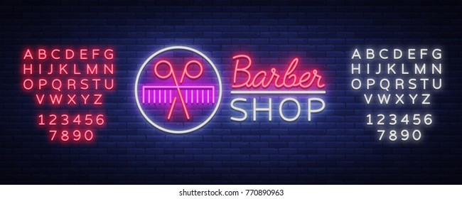 Vector logo neon sign barber shop for your design. For a label, a sign, a sign or an advertisement. Hipster Man, Hairdresser Logo. Billboard, luminous banner. Editing text neon sign