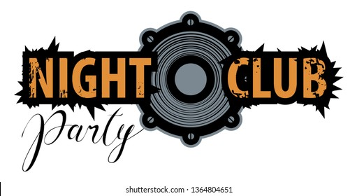 Vector logo for a night club with speaker. Can be used for flyer, playbill, poster, t-shirt design, banner, tickets