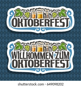 Vector logo for Oktoberfest on blue diamond background: beer in 3 mugs, lettering title - oktoberfest, green leaf hops, text - willkommen zum, oktober fest label on repeat rhombus texture pattern