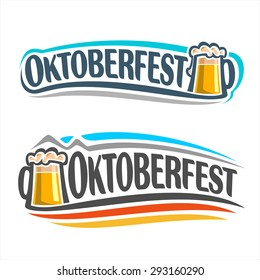 Vector logo for Oktoberfest in the pub or bar during the fest, beer mug with foam filled to the brim for traditional vintage pub for oktoberfest banner with the colors of the German flag
