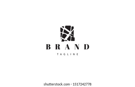 Vector logo on which an abstract image of a broken stone slab.