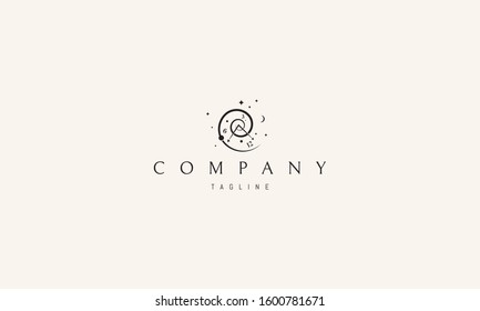Vector logo on which an abstract image of time in the form of a spiral.