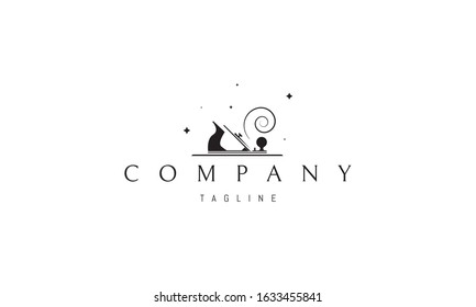 Vector logo on which is an abstract image of a carpenter.