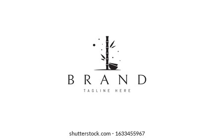 Vector logo on which an abstract image of bamboo with bowls.