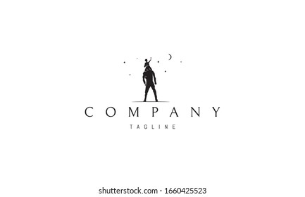 Vector logo on which an abstract image of a giant with a friend on his shoulders.