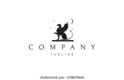 Vector logo on which an abstract image of a griffin sitting on a plate under the moon and stars.