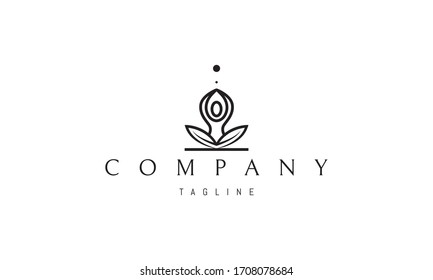 Vector logo on which an abstract image of a person sitting in lotus position.
