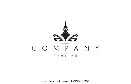 Vector logo on which an abstract image of a fast sailing ship with waves.
