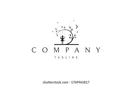 Vector logo on which an abstract image of a beautiful tree under which a girl on a swing against the background of stars and the moon.