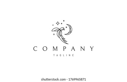 Vector logo on which an abstract image of an exotic bird on a background of the moon and stars.