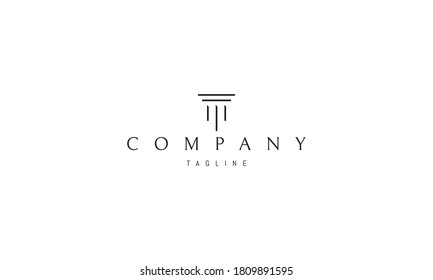 Vector logo on which an abstract image of a Greek column in a minimalist style.