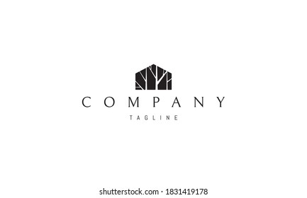 Vector logo on which an abstract image of a house with a silhouette of trees.