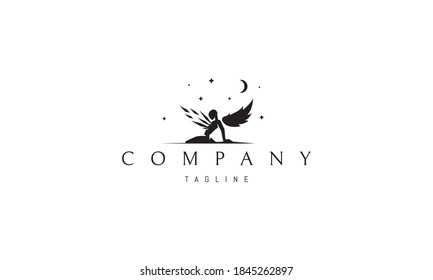 Vector logo on which an abstract image of an angel kneeling under the starry sky.