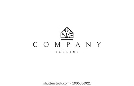 Vector logo on which an abstract image of a house with a tree inside.