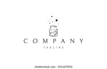 Vector logo on which an abstract image of a can with fireflies in a linear style.