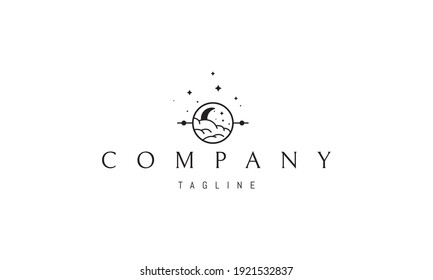 Vector logo on which an abstract image of the moon peeping out of the clouds in a circle.