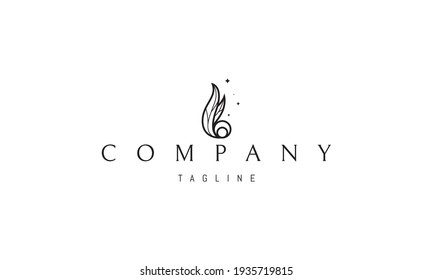 Vector logo on which an abstract image of fire from leaves.