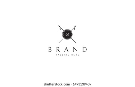 Vector logo on which the image of a shield and two crossed spears.